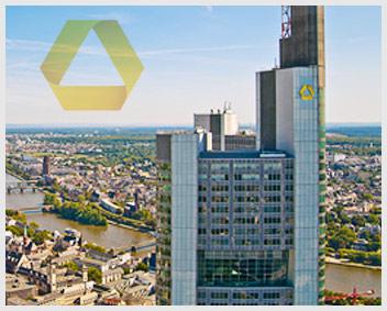Erfolgreiche Commerzbank - Blick über Skyline Frankfurt