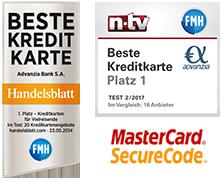 Als beste Kreditkarte ausgezeichnet von Handelsblatt, FMH und n-tv