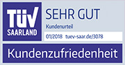 TÜV Zertifikat - Kundenzufriedenheit - Testurteil SEHR GUT